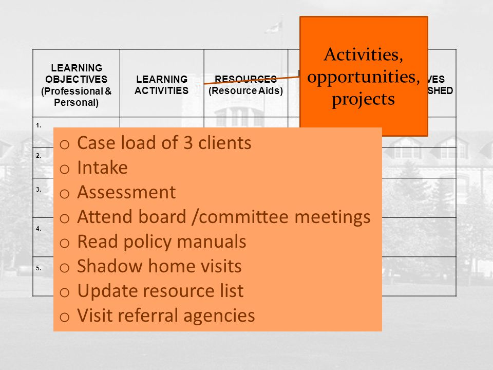 LEARNING OBJECTIVES (Professional & Personal) LEARNING ACTIVITIES RESOURCES (Resource Aids) METHODS TO MEASURE OBJECTIVES OBJECTIVES ACCOMPLISHED 1. 2