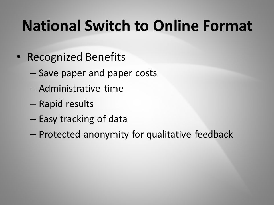 National Switch to Online Format Recognized Benefits – Save paper and paper costs – Administrative time – Rapid results – Easy tracking of data – Protected anonymity for qualitative feedback