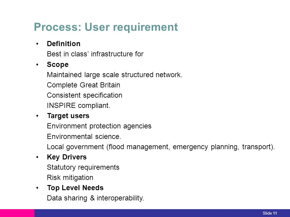 Slide 11 Process: User requirement Definition Best in class infrastructure for Scope Maintained large scale structured network. Complete Great Britain