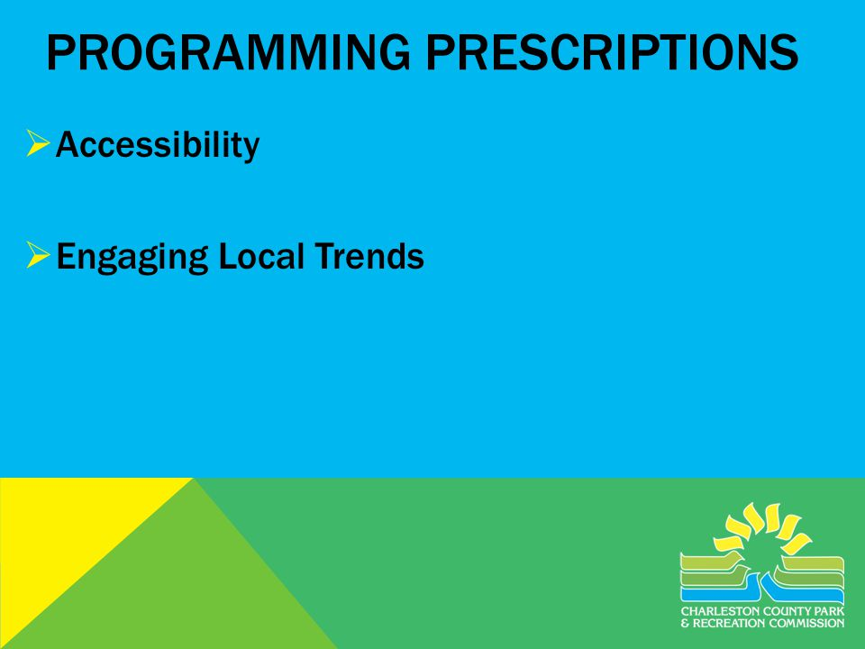 PROGRAMMING PRESCRIPTIONS Accessibility Engaging Local Trends