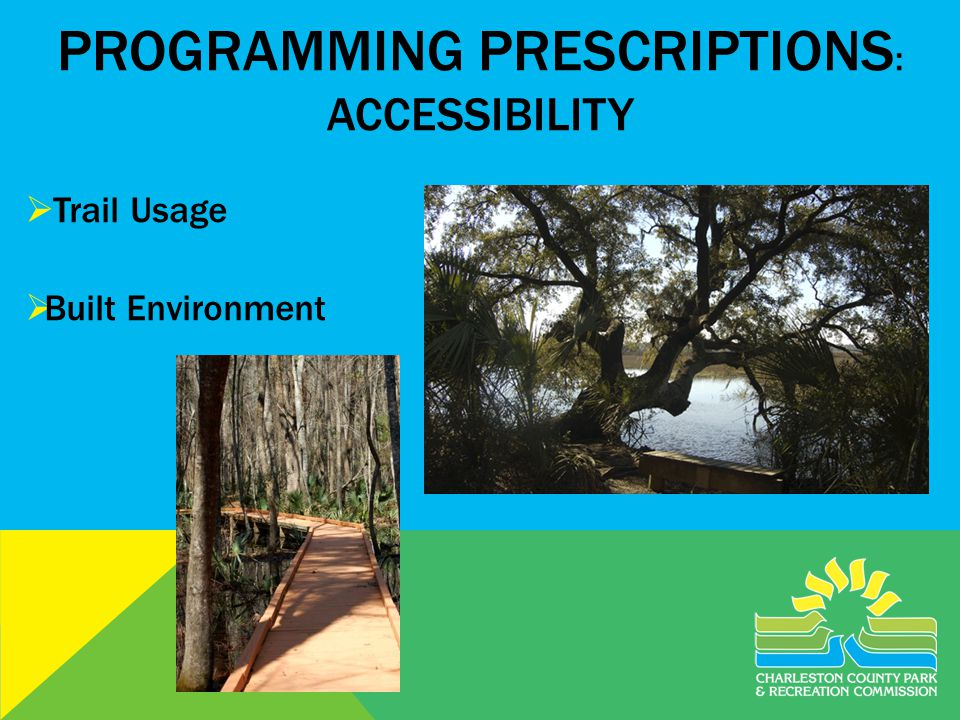 PROGRAMMING PRESCRIPTIONS : ACCESSIBILITY Trail Usage Built Environment