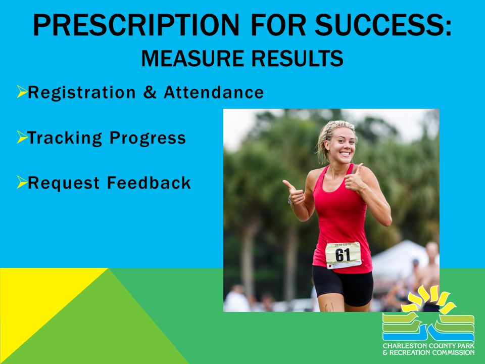 PRESCRIPTION FOR SUCCESS: MEASURE RESULTS Registration & Attendance Tracking Progress Request Feedback