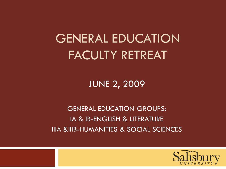 GENERAL EDUCATION FACULTY RETREAT JUNE 2, 2009 GENERAL EDUCATION GROUPS: IA & IB-ENGLISH & LITERATURE IIIA &IIIB-HUMANITIES & SOCIAL SCIENCES