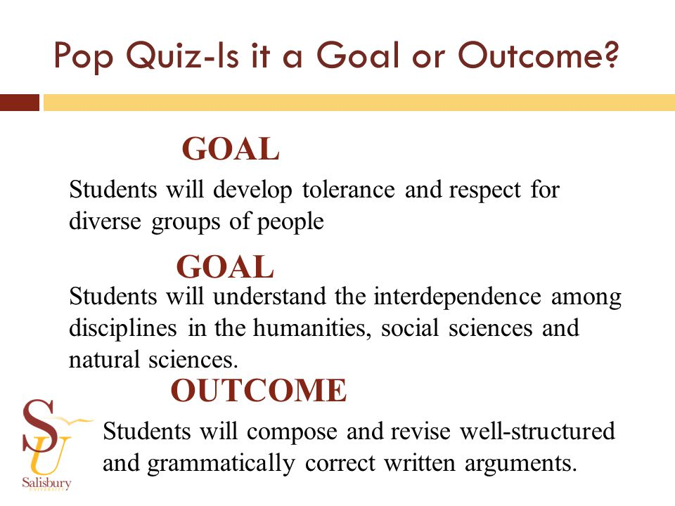 Pop Quiz-Is it a Goal or Outcome.