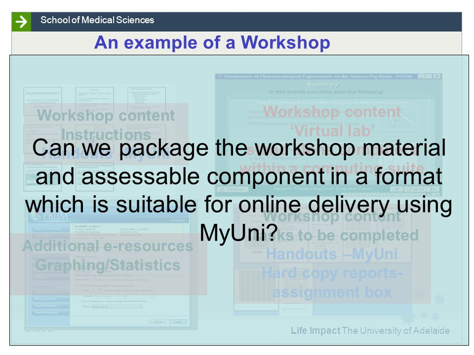 Life Impact The University of Adelaide Slide 2 School of Medical Sciences An example of a Workshop Workshop content Instructions Handouts -MyUni Workshop content Tasks to be completed Handouts –MyUni Hard copy reports- assignment box Workshop content Virtual lab stand alone computers within a computing suite Additional e-resources Graphing/Statistics Can we package the workshop material and assessable component in a format which is suitable for online delivery using MyUni