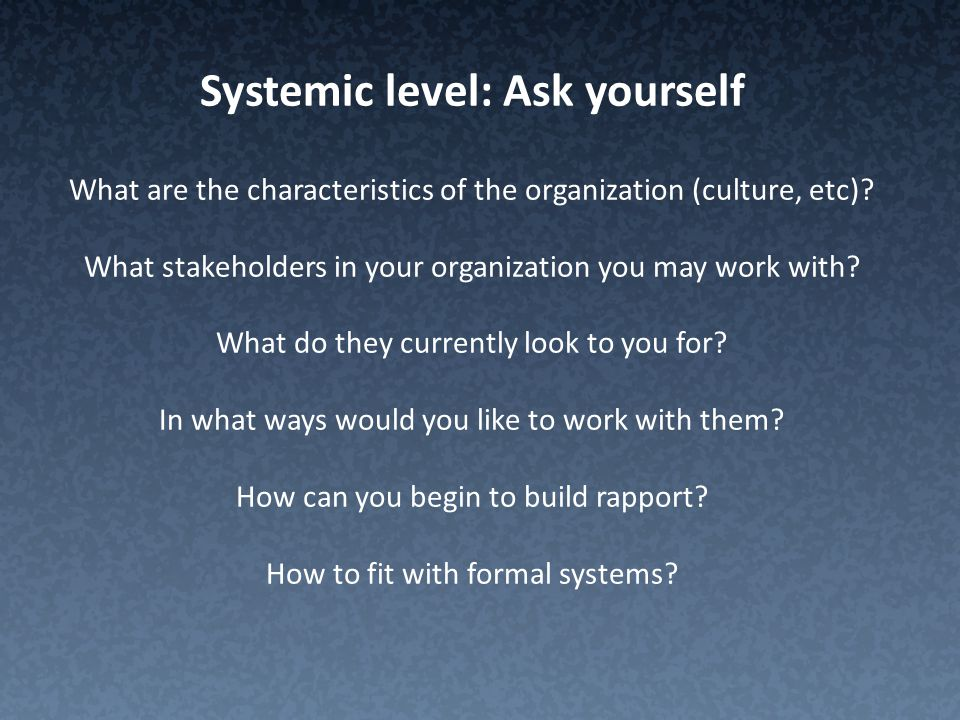 Systemic level: Ask yourself What are the characteristics of the organization (culture, etc).