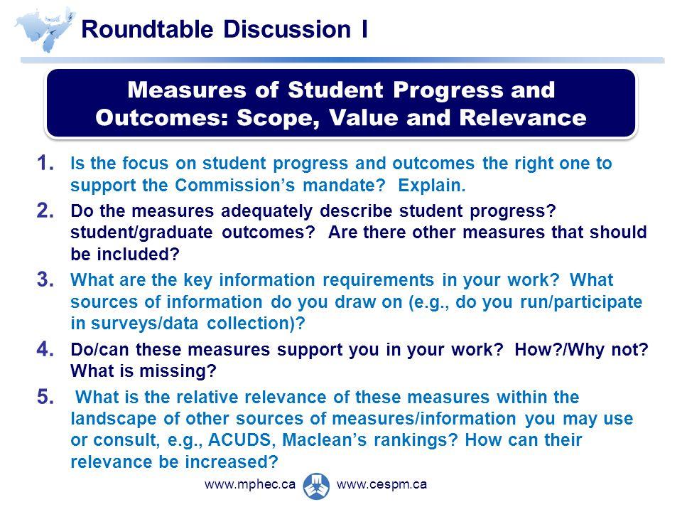 www.cespm.cawww.mphec.ca Roundtable Discussion I 1.