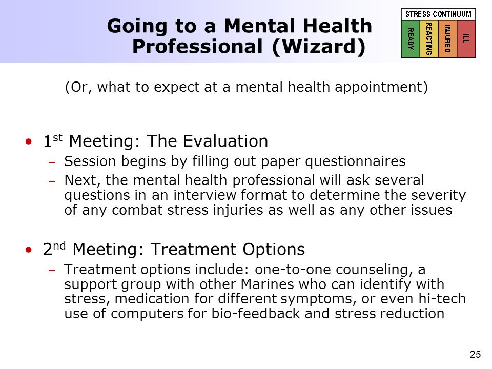 25 (Or, what to expect at a mental health appointment) 1 st Meeting: The Evaluation – – Session begins by filling out paper questionnaires – – Next, t