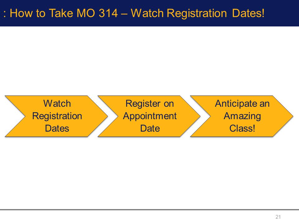 21 : How to Take MO 314 – Watch Registration Dates.