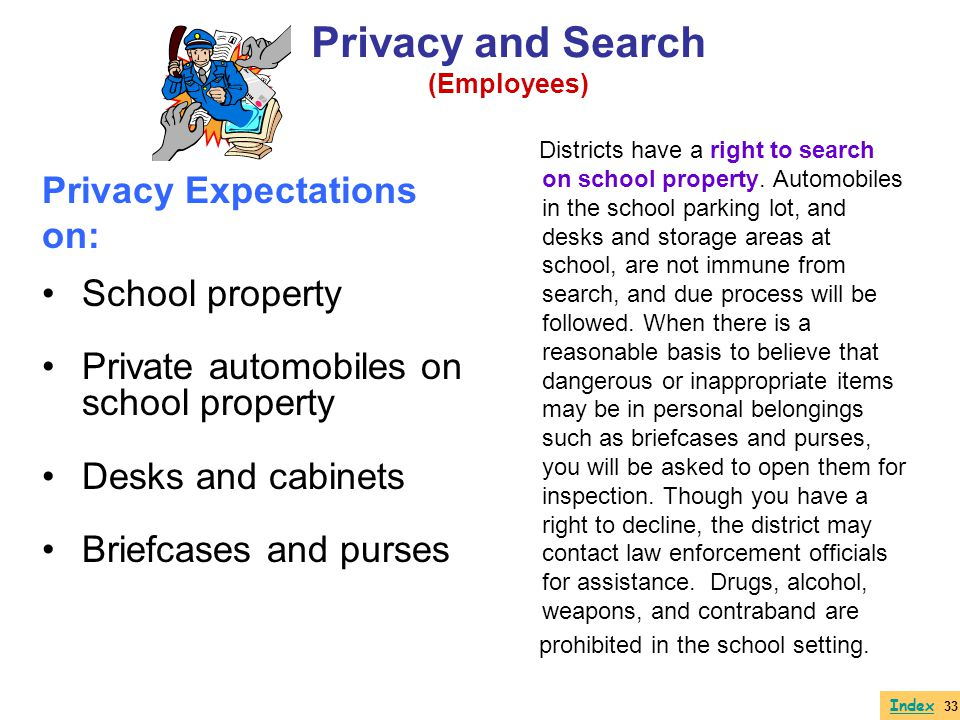 Privacy Expectations on: School property Private automobiles on school property Desks and cabinets Briefcases and purses Districts have a right to sea