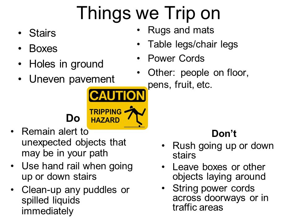 Things we Trip on Stairs Boxes Holes in ground Uneven pavement Rugs and mats Table legs/chair legs Power Cords Other: people on floor, pens, fruit, et