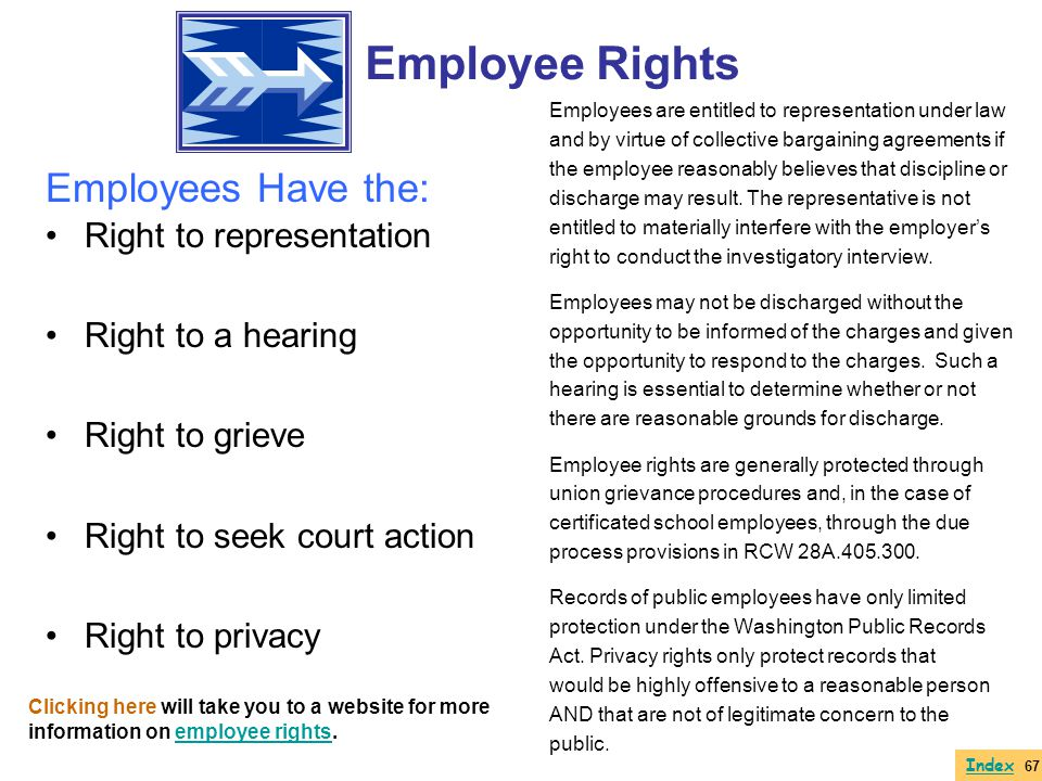 Right to representation Right to a hearing Right to grieve Right to seek court action Right to privacy Employees are entitled to representation under