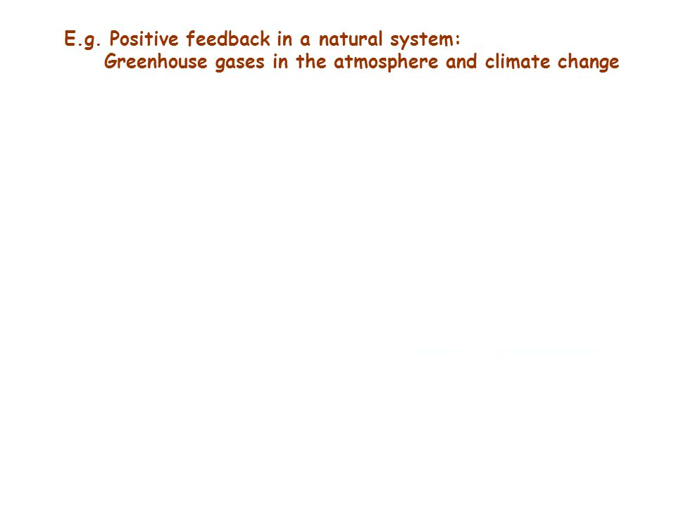 E.g. Positive feedback in a natural system: Greenhouse gases in the atmosphere and climate change