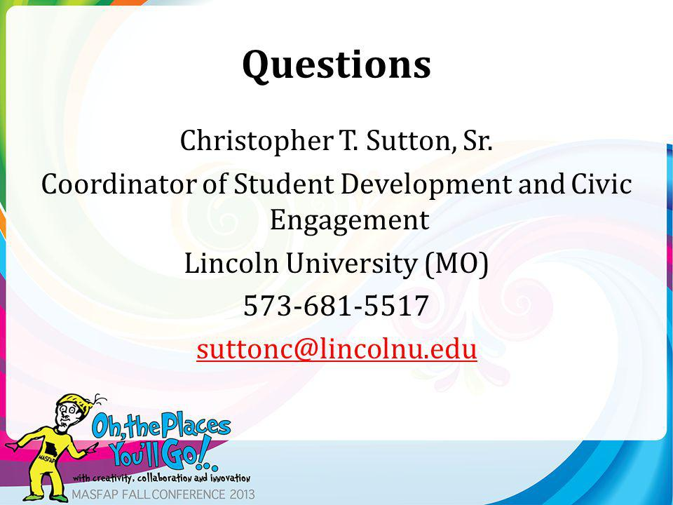 Questions Christopher T. Sutton, Sr.