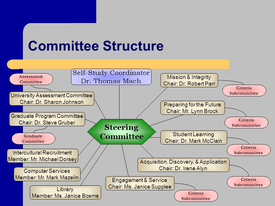 Committee Structure Self-Study Coordinator Dr.
