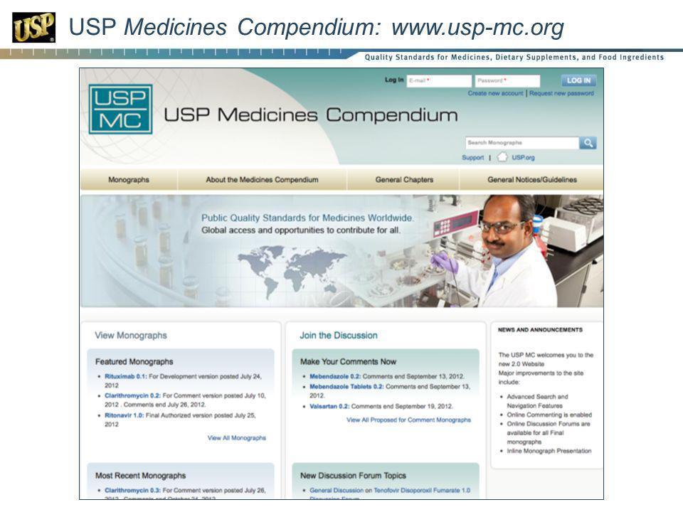USP Medicines Compendium: www.usp-mc.org
