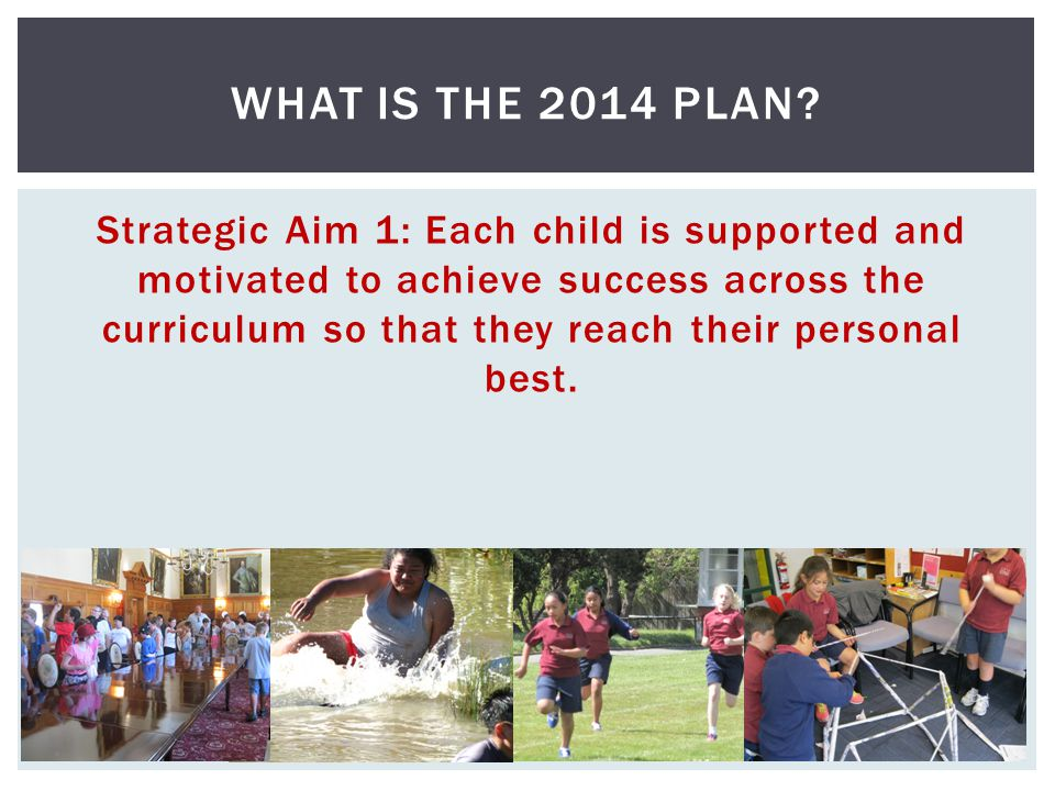 Strategic Aim 1: Each child is supported and motivated to achieve success across the curriculum so that they reach their personal best. WHAT IS THE 20
