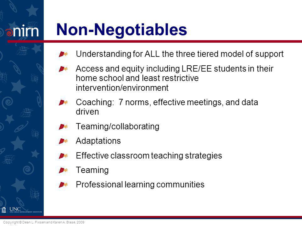Copyright © Dean L. Fixsen and Karen A. Blase, 2009 Non-Negotiables Understanding for ALL the three tiered model of support Access and equity includin