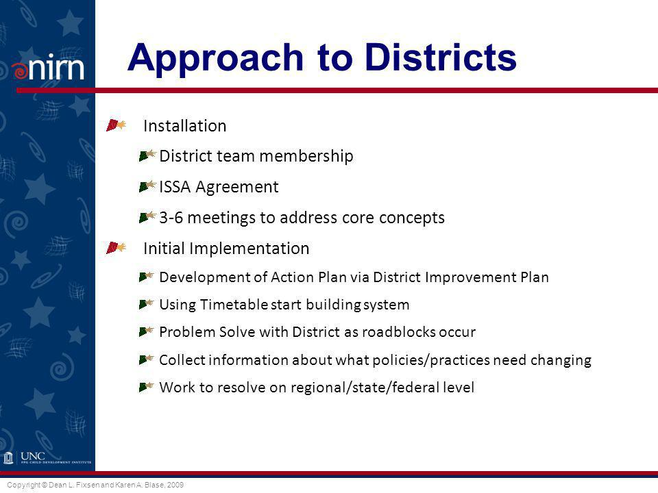 Copyright © Dean L. Fixsen and Karen A. Blase, 2009 Approach to Districts Installation District team membership ISSA Agreement 3-6 meetings to address