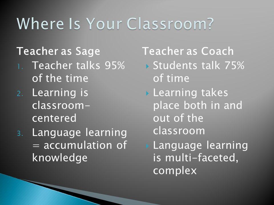 Teacher as Sage 1. Teacher talks 95% of the time 2.