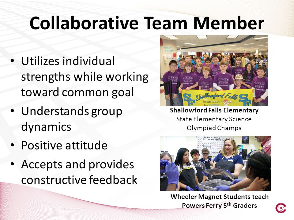 Utilizes individual strengths while working toward common goal Understands group dynamics Positive attitude Accepts and provides constructive feedback Collaborative Team Member Shallowford Falls Elementary State Elementary Science Olympiad Champs Wheeler Magnet Students teach Powers Ferry 5 th Graders