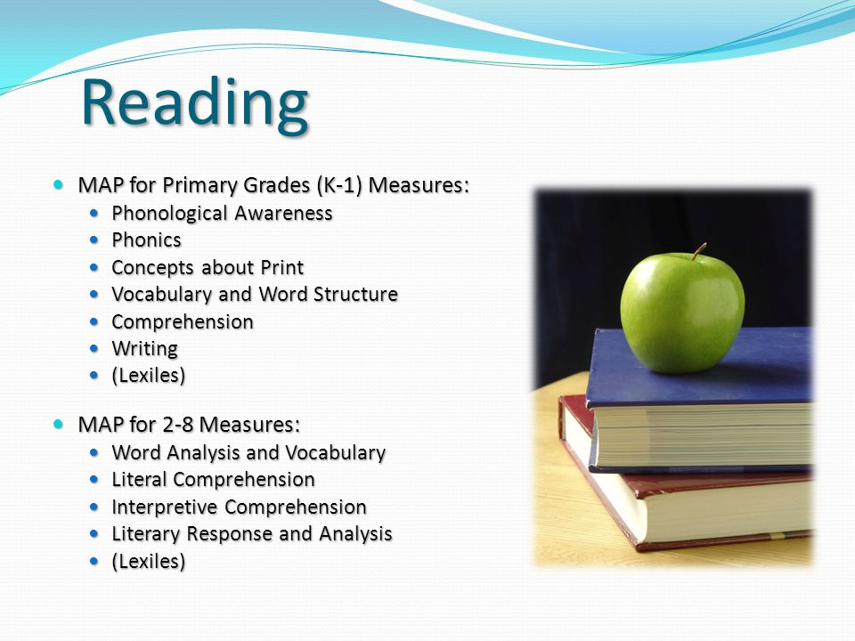 Reading MAP for Primary Grades (K-1) Measures: MAP for Primary Grades (K-1) Measures: Phonological Awareness Phonological Awareness Phonics Phonics Co