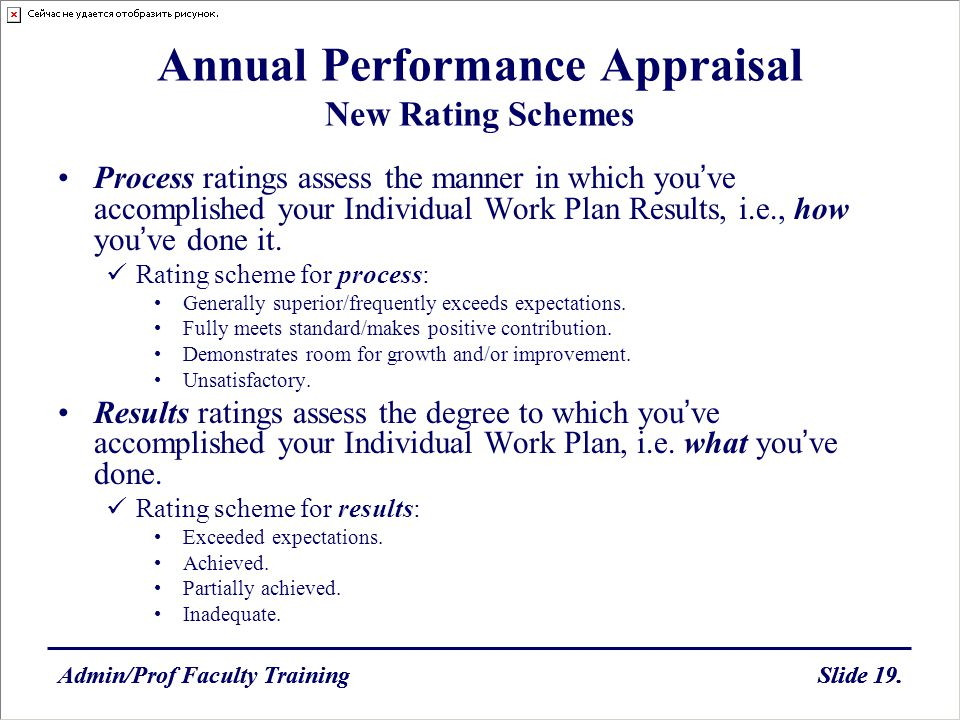 Admin/Prof Faculty TrainingSlide 19.Admin/Prof Faculty TrainingSlide 19. Annual Performance Appraisal New Rating Schemes Process ratings assess the ma