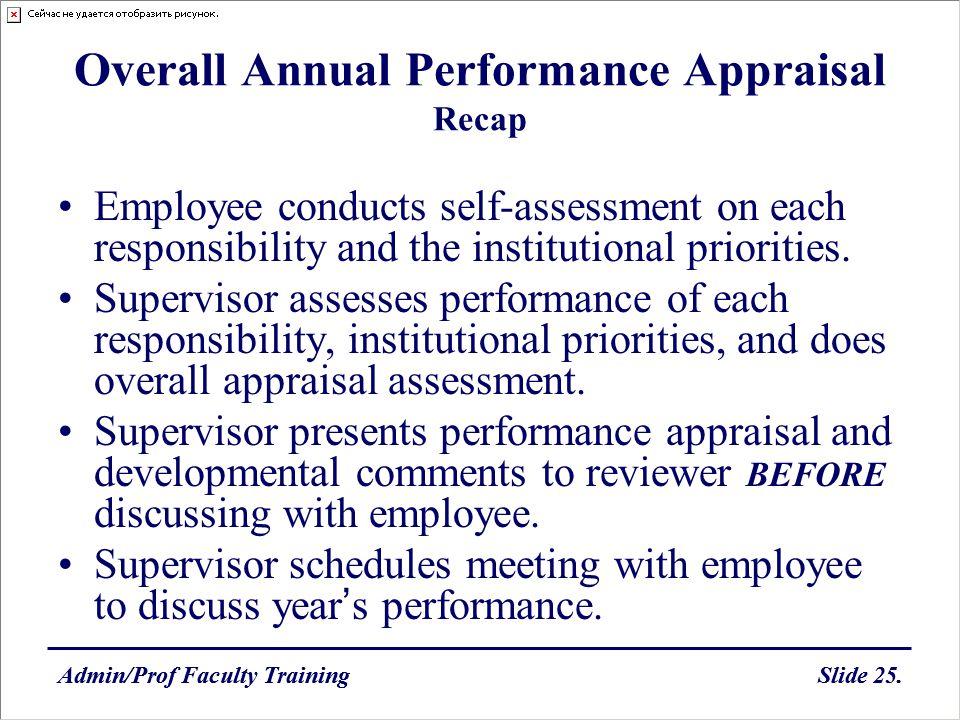 Admin/Prof Faculty TrainingSlide 25.Admin/Prof Faculty TrainingSlide 25. Overall Annual Performance Appraisal Recap Employee conducts self-assessment