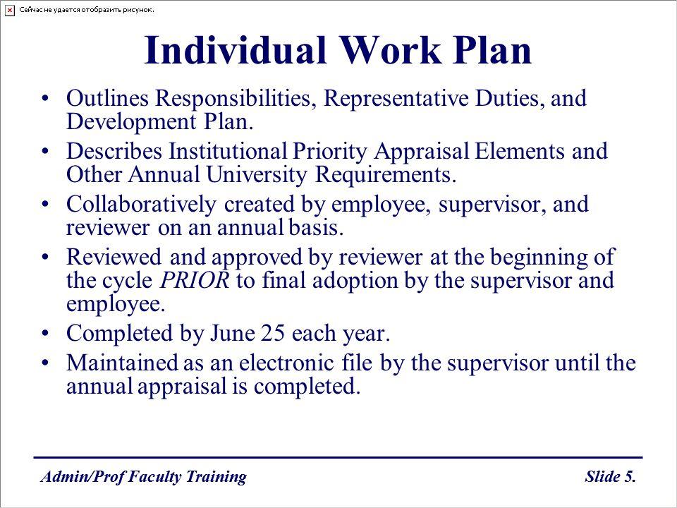Admin/Prof Faculty TrainingSlide 5.Admin/Prof Faculty TrainingSlide 5. Individual Work Plan Outlines Responsibilities, Representative Duties, and Deve
