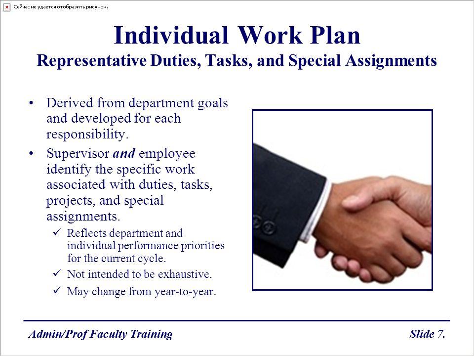 Admin/Prof Faculty TrainingSlide 7.Admin/Prof Faculty TrainingSlide 7. Individual Work Plan Representative Duties, Tasks, and Special Assignments Deri