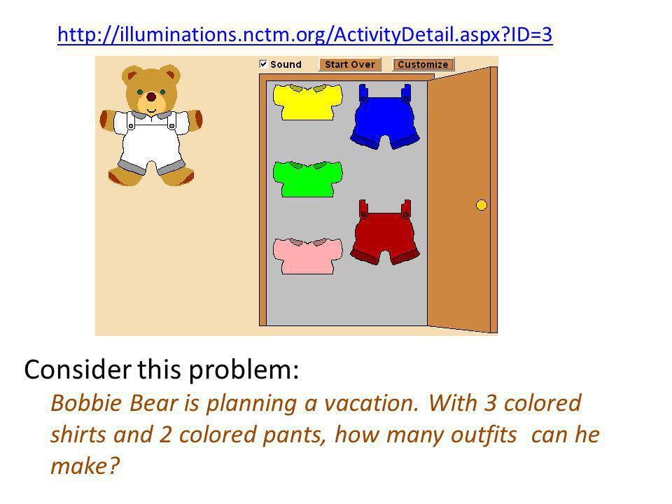 Bobbie Bear has 4 colored shirts and 2 colored pants.