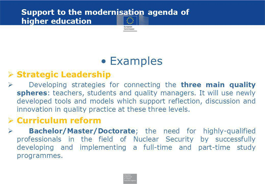 Support to the modernisation agenda of higher education Examples Strategic Leadership Developing strategies for connecting the three main quality sphe