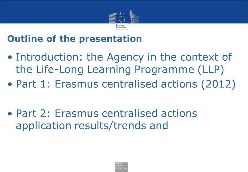 Outline of the presentation Introduction: the Agency in the context of the Life-Long Learning Programme (LLP) Part 1: Erasmus centralised actions (201