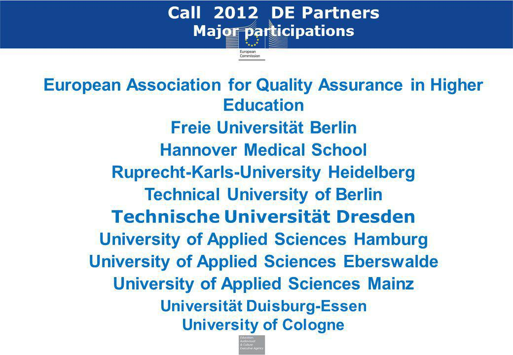 Call 2012 DE Partners Major participations European Association for Quality Assurance in Higher Education Freie Universität Berlin Hannover Medical Sc