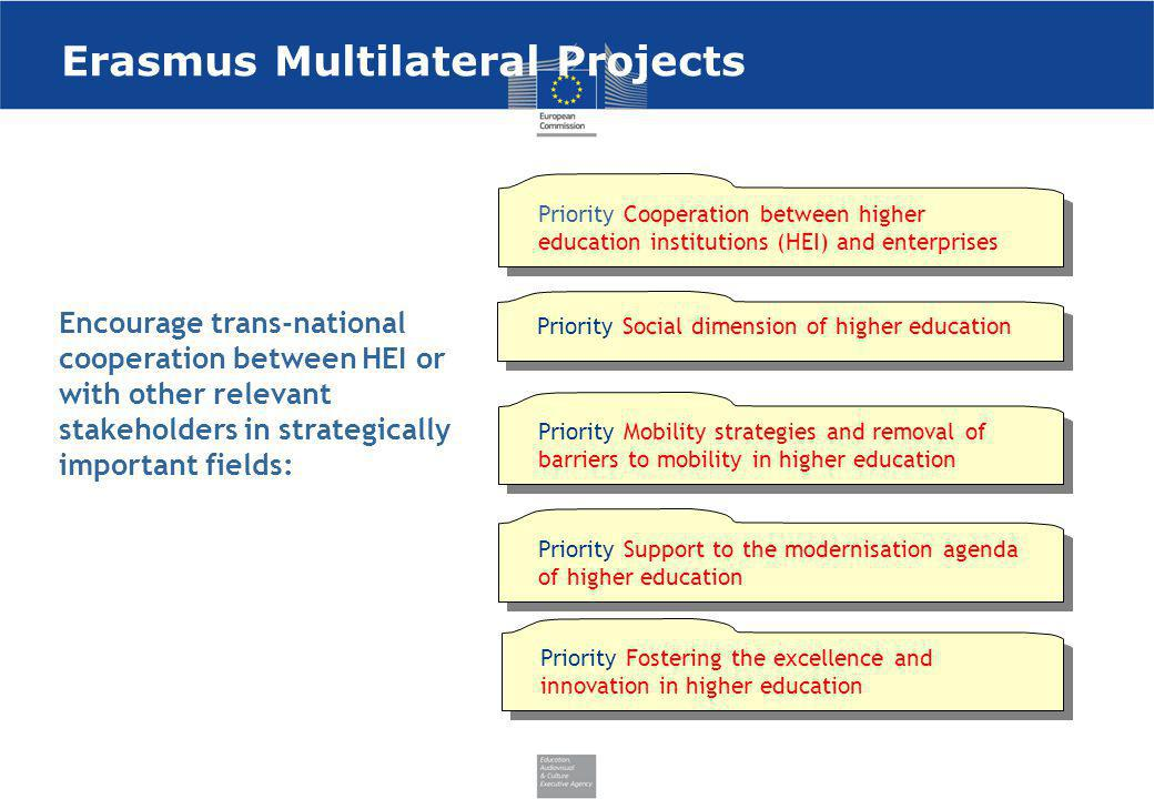 Erasmus Multilateral Projects Encourage trans-national cooperation between HEI or with other relevant stakeholders in strategically important fields: