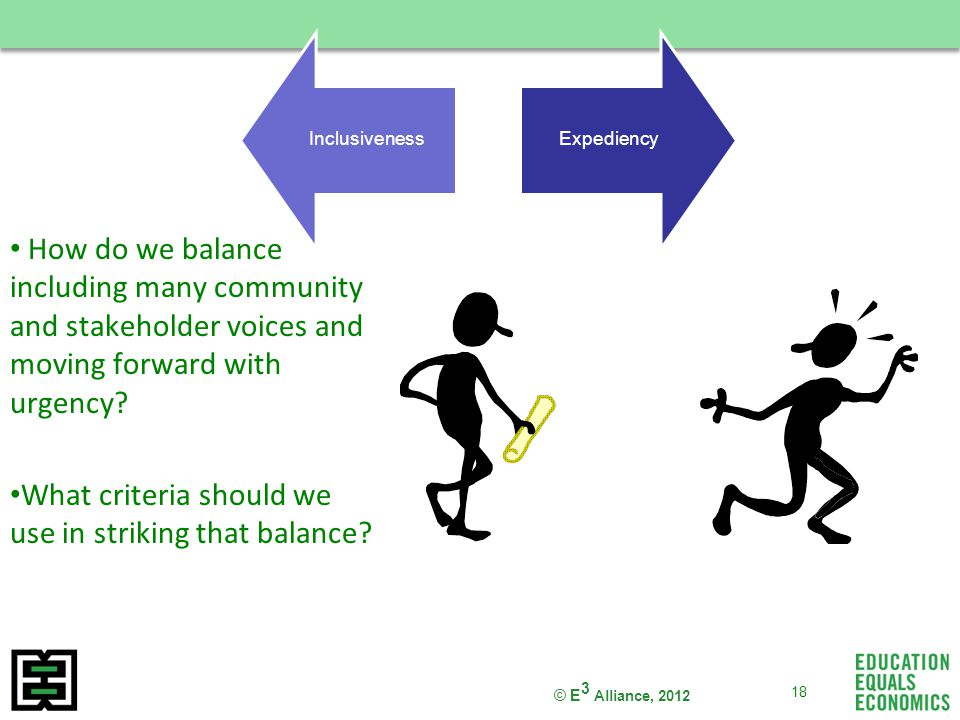 © E 3 Alliance, 2012 How do we balance including many community and stakeholder voices and moving forward with urgency.
