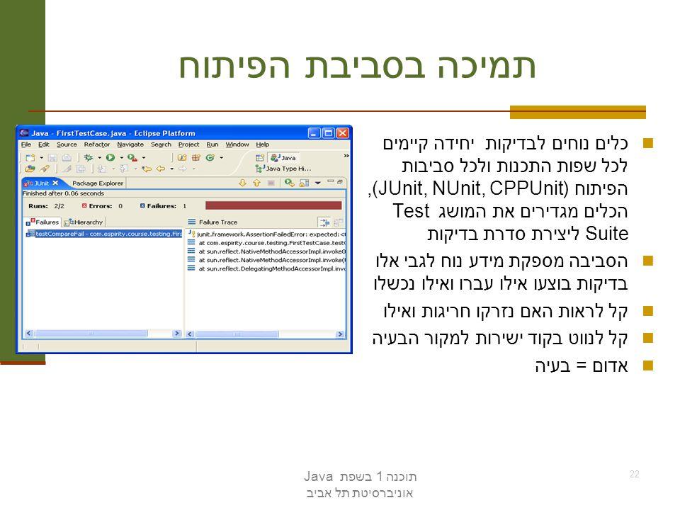 תוכנה 1 בשפת Java אוניברסיטת תל אביב 22 תמיכה בסביבת הפיתוח כלים נוחים לבדיקות יחידה קיימים לכל שפות התכנות ולכל סביבות הפיתוח (JUnit, NUnit, CPPUnit)