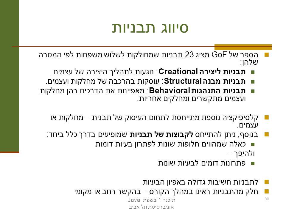 תוכנה 1 בשפת Java אוניברסיטת תל אביב 30 סיווג תבניות הספר של GoF מציג 23 תבניות שמחולקות לשלוש משפחות לפי המטרה שלהן: תבניות ליצירהCreational : נוגעות