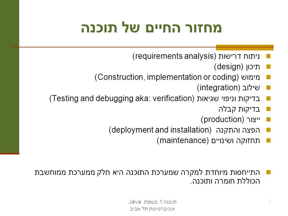 תוכנה 1 בשפת Java אוניברסיטת תל אביב 5 מחזור החיים של תוכנה ניתוח דרישות (requirements analysis) תיכון (design) מימוש (Construction, implementation or