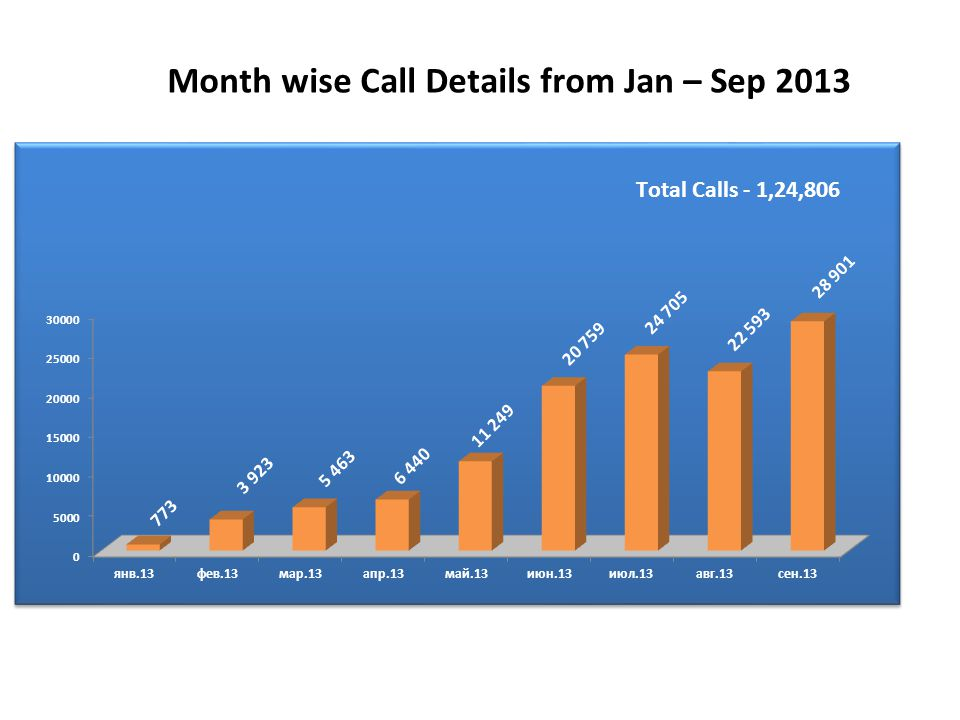 Month wise Call Details from Jan – Sep 2013