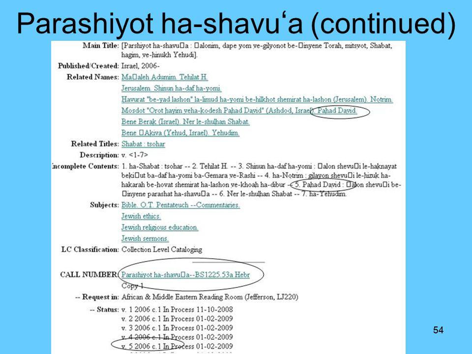 53 Parashiyot ha- shavu a (Continued)