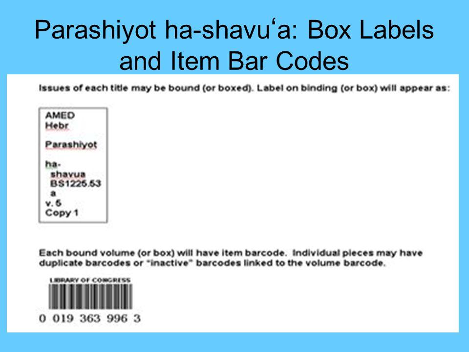 54 Parashiyot ha- shavu a (continued)