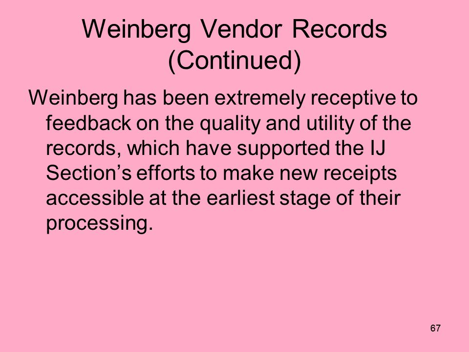 66 LC IBC Record in Voyager Created From Weinberg Copy