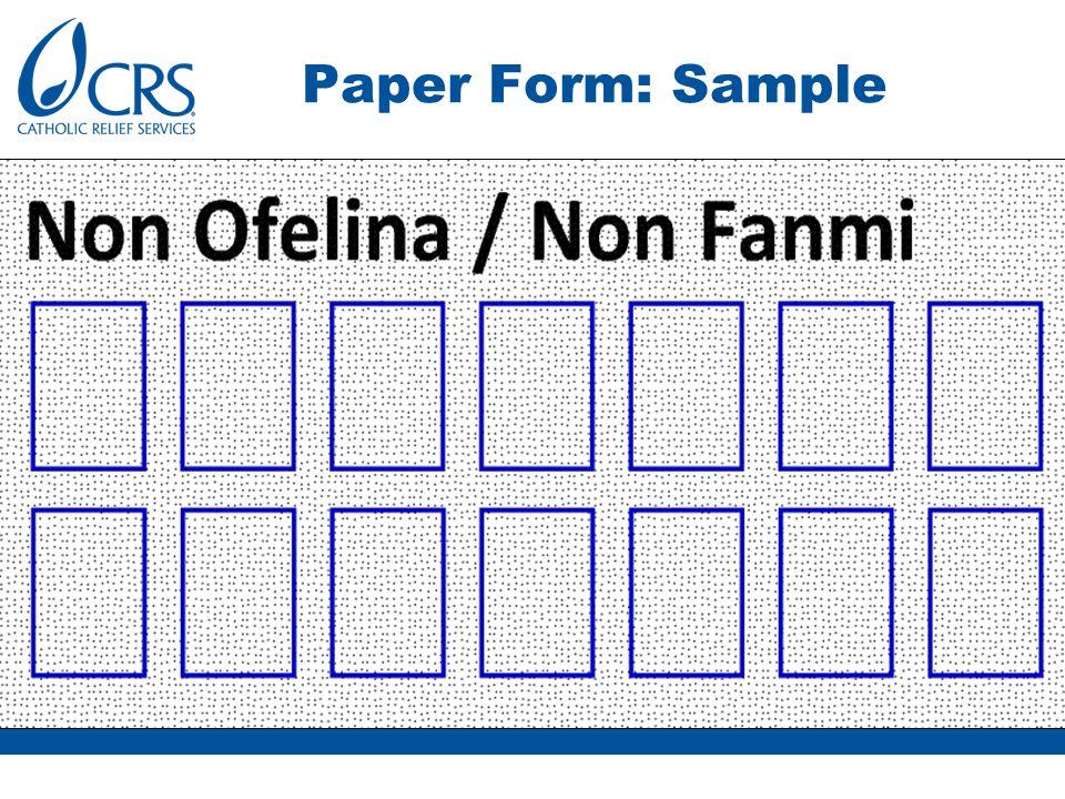 Paper Form: Sample