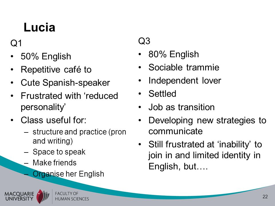 22 Lucia Q1 50% English Repetitive café to Cute Spanish-speaker Frustrated with reduced personality Class useful for: –structure and practice (pron and writing) –Space to speak –Make friends –Organise her English Q3 80% English Sociable trammie Independent lover Settled Job as transition Developing new strategies to communicate Still frustrated at inability to join in and limited identity in English, but….