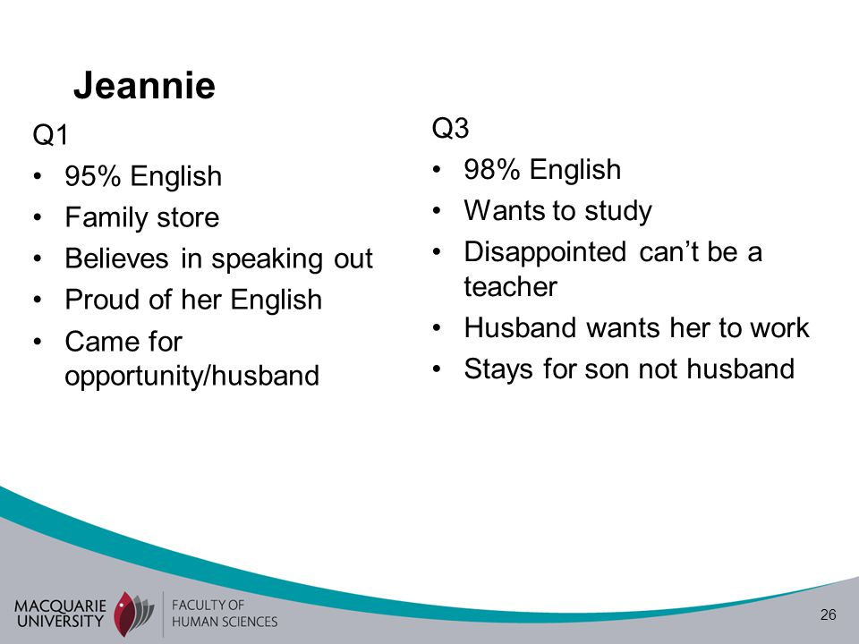 26 Jeannie Q1 95% English Family store Believes in speaking out Proud of her English Came for opportunity/husband Q3 98% English Wants to study Disappointed cant be a teacher Husband wants her to work Stays for son not husband