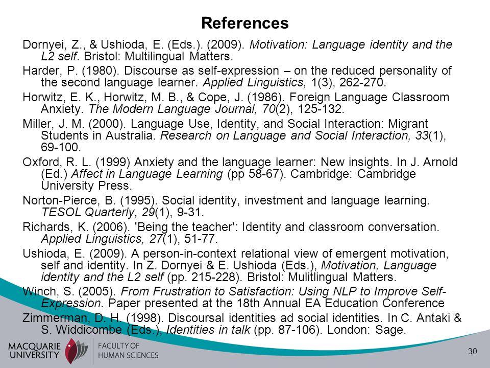 30 References Dornyei, Z., & Ushioda, E. (Eds.). (2009).