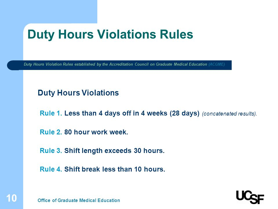 10 Duty Hours Violations Rules Office of Graduate Medical Education Duty Hours Violations Rule 1. Less than 4 days off in 4 weeks (28 days) (concatena