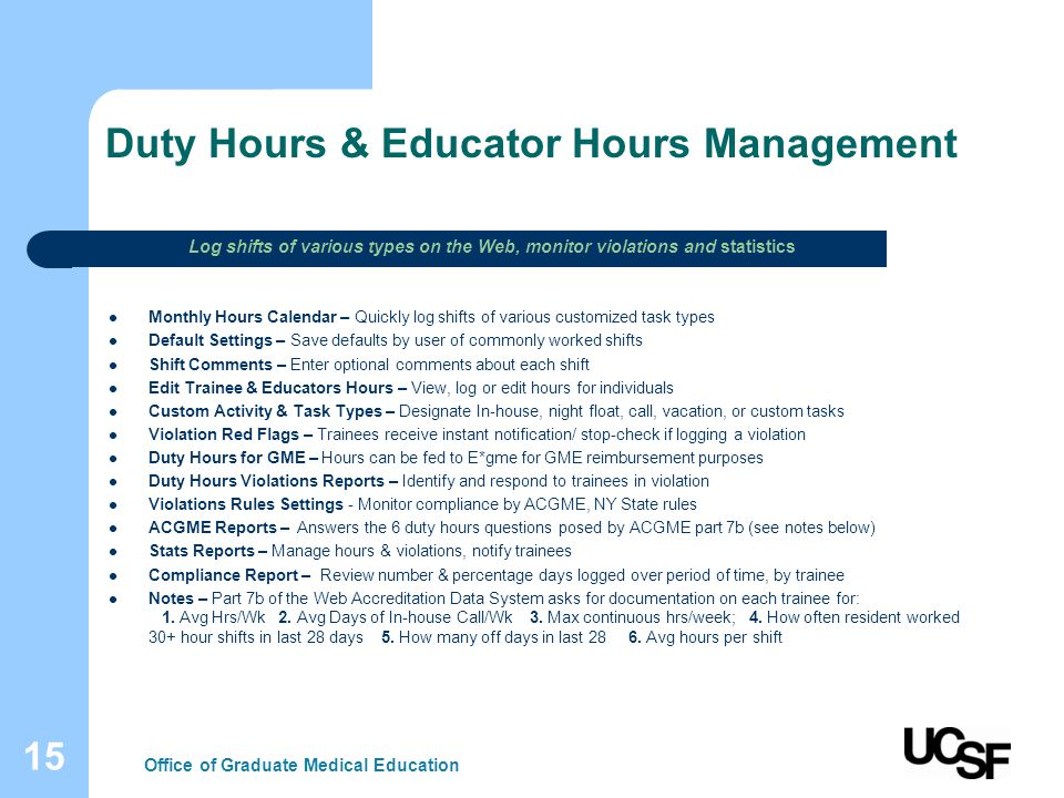 15 Duty Hours & Educator Hours Management Monthly Hours Calendar – Quickly log shifts of various customized task types Default Settings – Save default