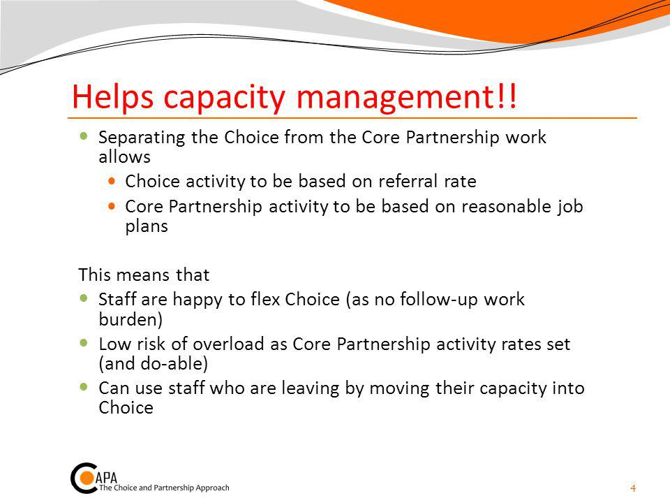 Helps capacity management!! Separating the Choice from the Core Partnership work allows Choice activity to be based on referral rate Core Partnership